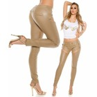 KouCla Skinny Leatherlook Broek Beige