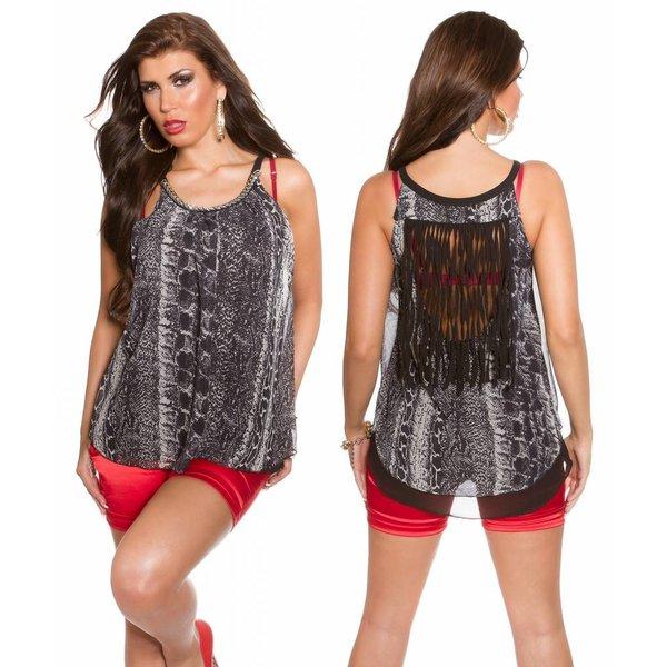 Fashion Topje met Decoratieve Rug Zwart