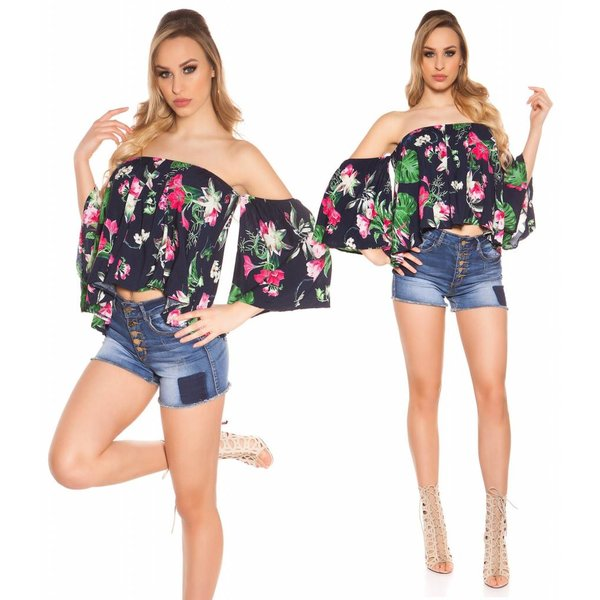 Off-Shoulder Top Coachella Stijl Navy