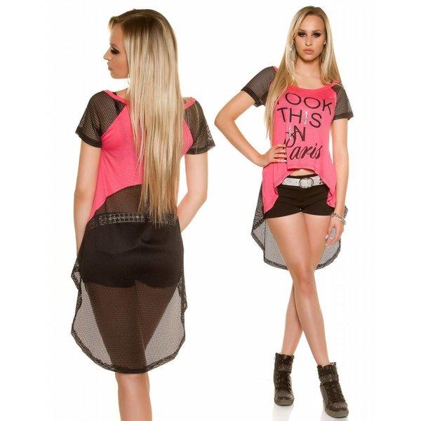 Fashion Shirt Halflange Mouwen Coral