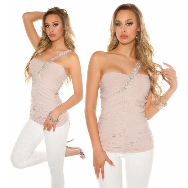 Asymmetrisch Fashion Topje Beige