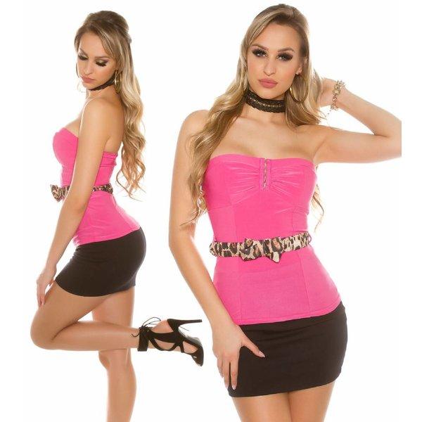 Strapless Fashion Topje met Riem Pink