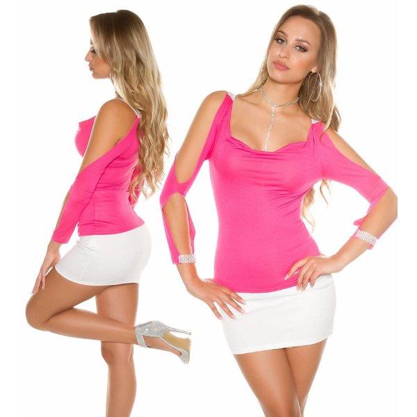 KouCla Fashion Topje met Open Mouwen Fuchsia