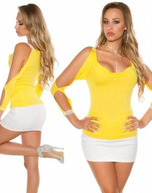 KouCla Fashion Topje met Open Mouwen Geel