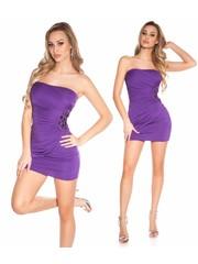 Bandeau Jurk met Decoratieve Zijkant Purple