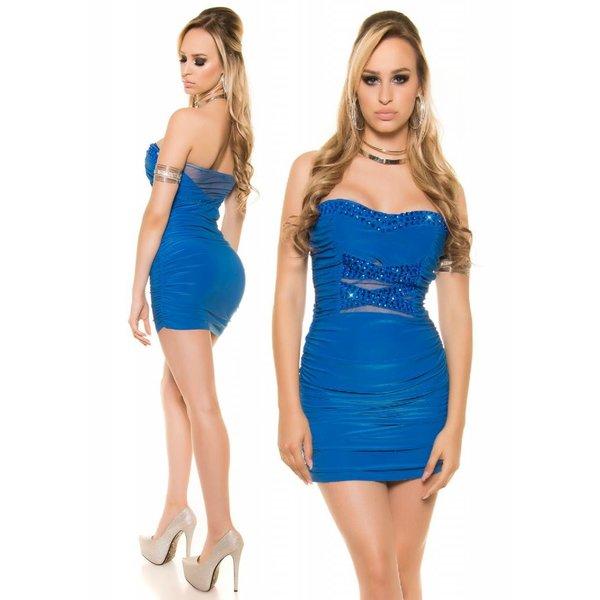 Strapless Mini Jurk Royal Blauw