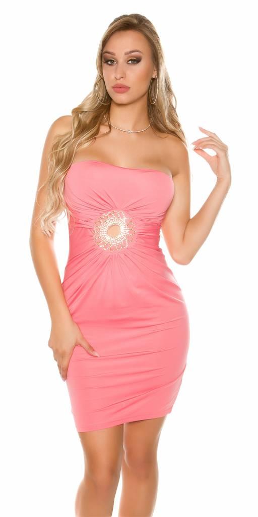 strapless mini jurk