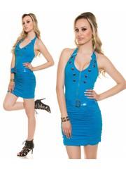 Neckholder Fashion Jurk Turquoise Blauw
