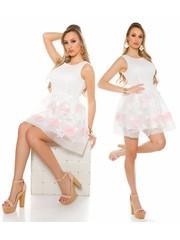 Cocktail Fashion Jurk met Bloemen Wit