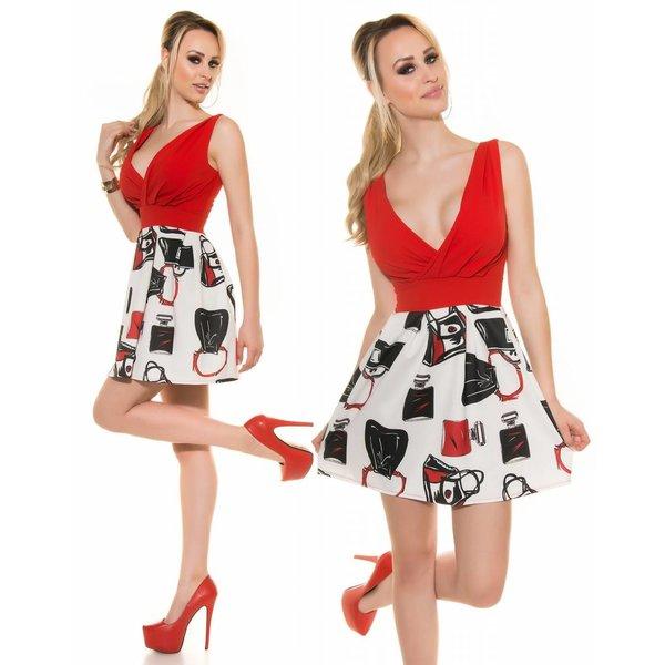 Fashion Jurk met Wijd Uitlopende Rok Rood
