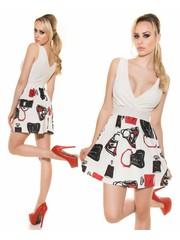 Fashion Jurk met Wijd Uitlopende Rok Wit