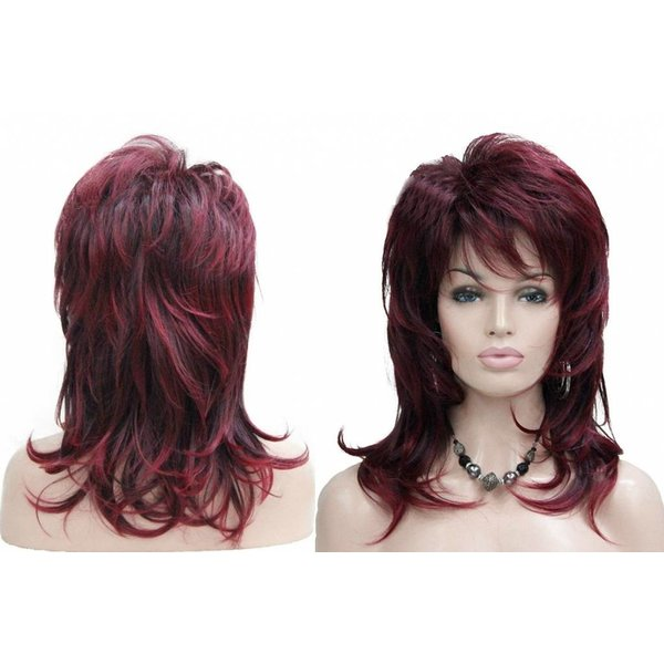 Kanekalon Halflange Pruik Bordeaux / Zwart Gelaagd Haar
