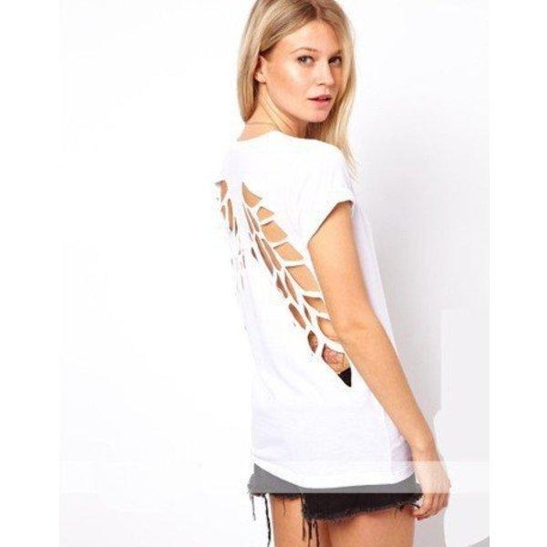 Angel Wings T-shirt met Scheuren Wit