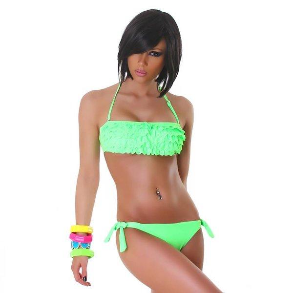Neckholder Bikini Set met Volant BH Licht Groen