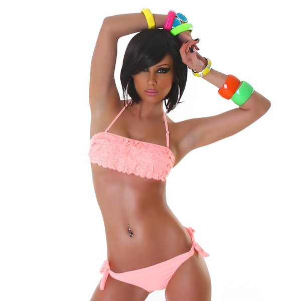 Neckholder Bikini Set met Volant BH Salmon Pink