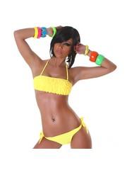 Neckholder Bikini Set met Volant BH Geel