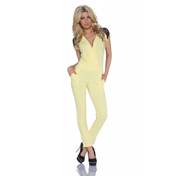 V-hals Lange Fashion Jumpsuit Geel