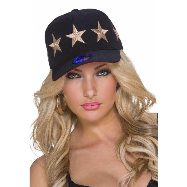Baseball Cap met Gestikt Ster Logo Beige / Zwart