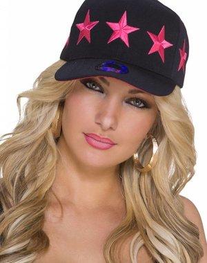 Baseball Cap met Gestikt Ster Logo Fuchsia / Zwart