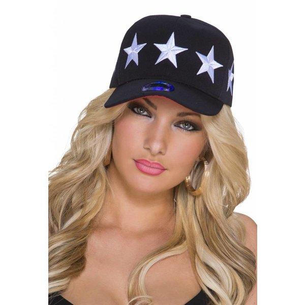 Baseball Cap met Gestikt Ster Logo Wit / Zwart