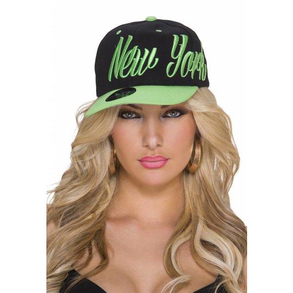 """Baseball Cap met Gestikt """"NEW YORK"""" Logo Groen / Zwart"""