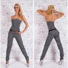 Lange Strapless Jumpsuit Wit / Zwart