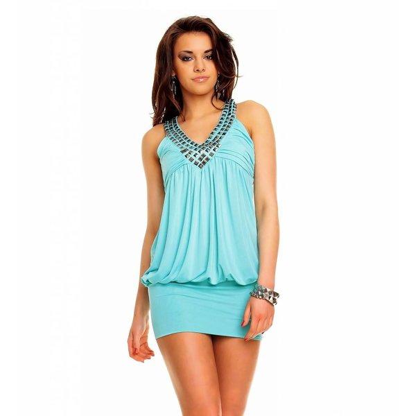 V-hals Fashion Mini Jurk Aqua Blauw