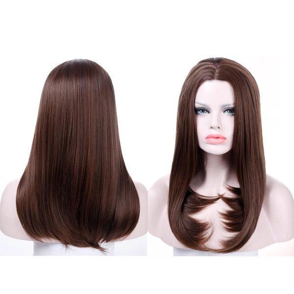 Lange Pruik Bruin Haar