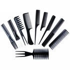 10-delige Haarkammen Set Zwart
