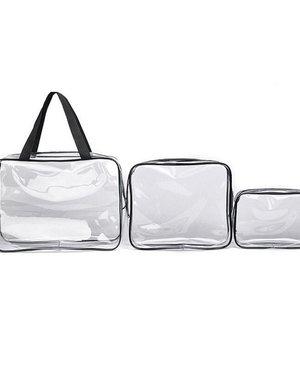 3-delige Waterdichte Make-Up Tasjes Set Zwart