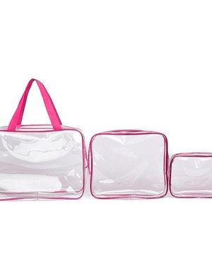 3-delige Waterdichte Make-Up Tasjes Set Pink