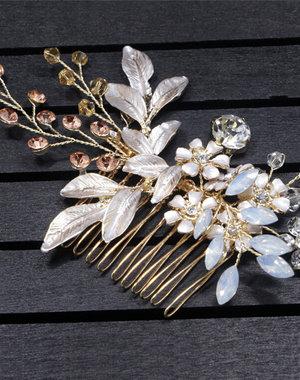 Goudkleurige Haarkam met Bloemen