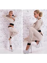 2-Delige Fashion Tracksuit Beige