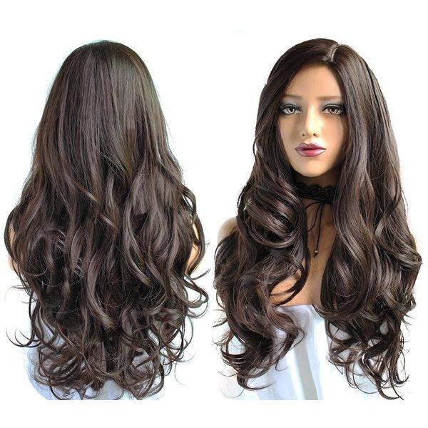 Lange Pruik Mixed Bruin Golvend Haar