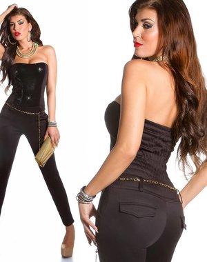Lange Strapless Jumpsuit Zwart