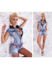 Korte Trendy Jeans Jumpsuit Licht Blauw