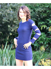 Ribgebreide Fashion Jurk Royal Blauw