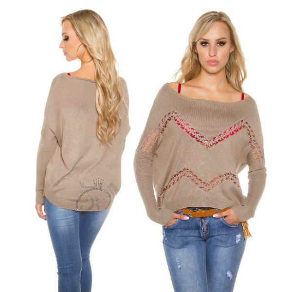 Trendy Koucla Trui met Kant & Strass Taupe