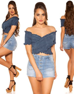 Trendy Off Shoulder Shirt Jeans Blauw