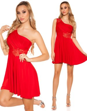 Goddess Effect One Shoulder Jurk Rood