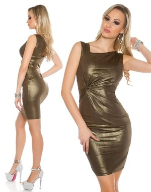 Koucla Fashion Jurk in Metallic Look Goud