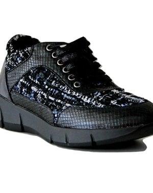 Trendy Sneakers met Vetersluiting Zwart