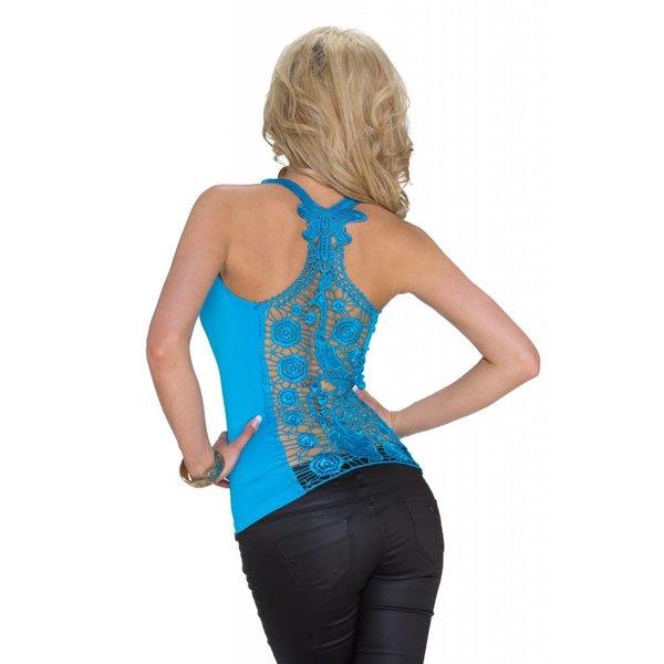 Fashion Topje met Geborduurde Rug Licht Blauw