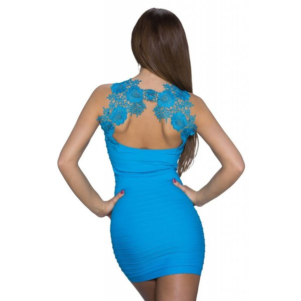 Fashion Lang Topje met Geborduurde Rug Licht Blauw