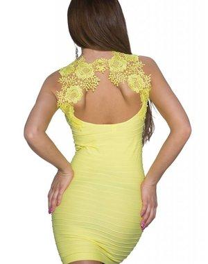 Fashion Lang Topje met Geborduurde Rug Geel