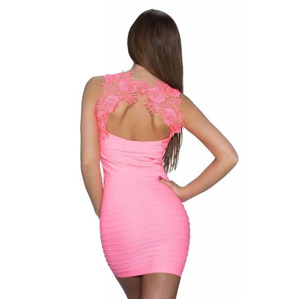 Lang Topje met Geborduurde Rug Neon Pink