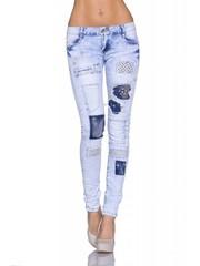 Lange Crashed Skinny Jeans Licht Blauw