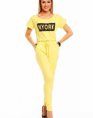 "Lange Fashion Jumpsuit ""NYORK"" Geel"