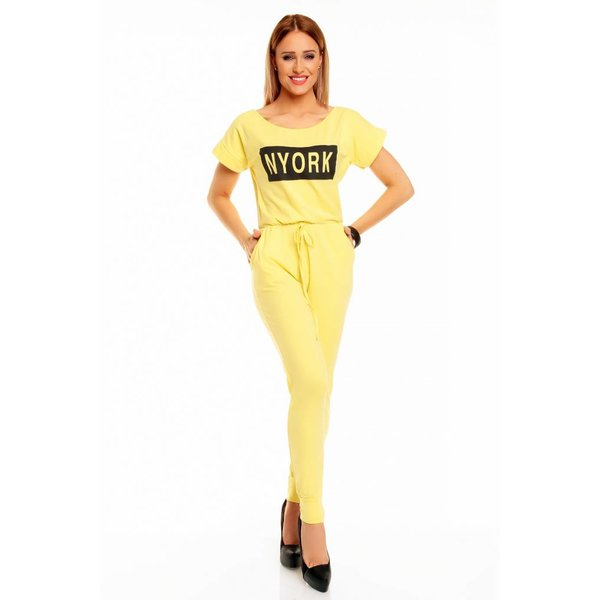 "Lange Fashion Jumpsuit ""NYORK"" Geel"
