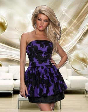 Strapless Fashion Mini Jurk Purple
